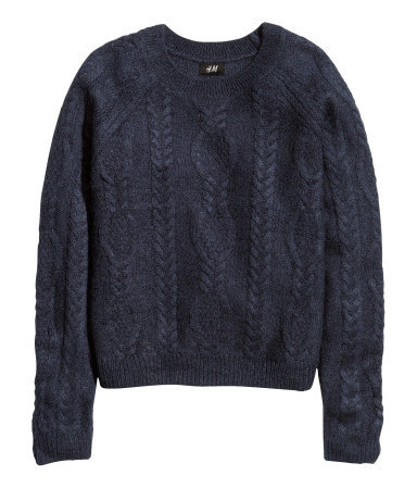 Cable Knit Jumper - neckline: round neck; sleeve style: raglan; style: standard; pattern: cable knit; predominant colour: navy; occasions: casual, creative work; length: standard; fibres: acrylic - mix; fit: standard fit; sleeve length: long sleeve; texture group: knits/crochet; pattern type: knitted - other; pattern size: standard; trends: broody brights; season: a/w 2013