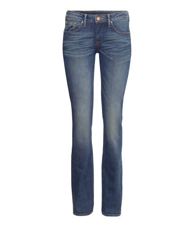 Bootcut Low Jeans - style: bootcut; length: standard; pattern: plain; waist: low rise; pocket detail: traditional 5 pocket; predominant colour: denim; occasions: casual; fibres: cotton - stretch; jeans detail: whiskering, shading down centre of thigh, washed/faded; texture group: denim; season: a/w 2013