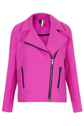 Heavy Crepe Biker Jacket - pattern: plain; style: biker; collar: asymmetric biker; predominant colour: magenta; occasions: casual, evening, creative work; length: standard; fit: straight cut (boxy); fibres: polyester/polyamide - 100%; sleeve length: long sleeve; sleeve style: standard; texture group: crepes; collar break: medium; season: a/w 2013