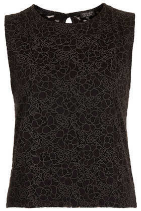 Rose Burnout Shell Top - neckline: round neck; sleeve style: sleeveless; predominant colour: black; occasions: casual, evening, occasion, creative work; length: standard; style: top; fibres: viscose/rayon - stretch; fit: body skimming; sleeve length: sleeveless; texture group: lace; pattern type: fabric; pattern size: light/subtle; pattern: patterned/print; season: a/w 2013