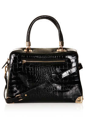 Patent Croc Double Handle Bag - predominant colour: black; occasions: casual, creative work; type of pattern: standard; style: bowling; length: hand carry; size: standard; material: faux leather; pattern: plain; finish: patent; season: a/w 2013