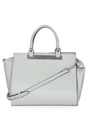Plated Holdall - predominant colour: light grey; occasions: casual, creative work; type of pattern: standard; style: tote; length: handle; size: oversized; material: faux leather; pattern: plain; finish: plain; season: a/w 2013