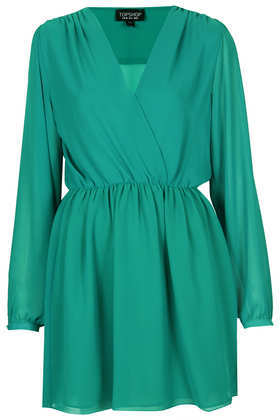 Chiffon Wrap Dress - style: faux wrap/wrap; length: mid thigh; neckline: low v-neck; fit: fitted at waist; pattern: plain; waist detail: elasticated waist; predominant colour: emerald green; occasions: casual, evening, creative work; fibres: polyester/polyamide - 100%; sleeve length: long sleeve; sleeve style: standard; texture group: sheer fabrics/chiffon/organza etc.; season: a/w 2013