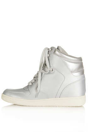 Atlantic Wedge High Top - predominant colour: silver; occasions: casual; material: faux leather; heel height: high; heel: wedge; toe: round toe; boot length: ankle boot; style: high top; finish: metallic; pattern: plain; season: a/w 2013