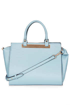 Plated Holdall - predominant colour: pale blue; occasions: casual, creative work; type of pattern: standard; style: tote; length: handle; size: oversized; material: faux leather; pattern: plain; finish: plain; season: a/w 2013