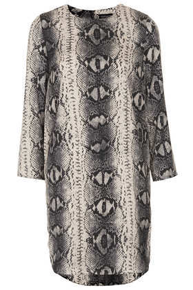 Snake Print Tunic Dress - style: tunic; secondary colour: stone; predominant colour: charcoal; occasions: casual, evening, occasion, creative work; length: just above the knee; fit: straight cut; fibres: polyester/polyamide - 100%; neckline: crew; sleeve length: long sleeve; sleeve style: standard; texture group: crepes; pattern type: fabric; pattern: animal print; season: a/w 2013