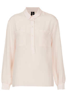 Boxy Silk Shirt Boutique - neckline: shirt collar/peter pan/zip with opening; pattern: plain; style: polo shirt; predominant colour: blush; occasions: casual, evening, work, creative work; length: standard; fibres: silk - 100%; fit: straight cut; sleeve length: long sleeve; sleeve style: standard; texture group: sheer fabrics/chiffon/organza etc.; pattern type: fabric; season: a/w 2013