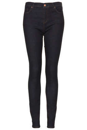 Tall Moto Indigo Rinse Leigh Jeans - style: skinny leg; length: standard; pattern: plain; pocket detail: traditional 5 pocket; waist: mid/regular rise; predominant colour: navy; occasions: casual, evening; fibres: cotton - stretch; jeans detail: dark wash; texture group: denim; season: a/w 2013