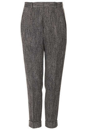 Modern Tailoring Herringbone Suit Trousers - length: standard; pocket detail: small back pockets, pockets at the sides; style: peg leg; pattern: herringbone/tweed; waist: mid/regular rise; predominant colour: black; occasions: evening, work; fibres: polyester/polyamide - stretch; jeans & bottoms detail: turn ups; fit: tapered; pattern type: fabric; texture group: woven light midweight; trends: masculine feminine; season: a/w 2013