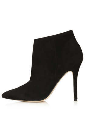 Aloof Black Leather Boots - predominant colour: black; material: suede; heel height: high; heel: stiletto; toe: pointed toe; boot length: ankle boot; style: standard; finish: plain; pattern: plain; occasions: creative work; season: a/w 2013