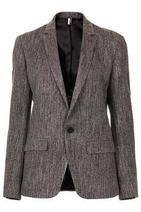 Modern Tailoring Herringbone Slouch Blazer - style: single breasted blazer; collar: standard lapel/rever collar; pattern: herringbone/tweed; predominant colour: charcoal; occasions: casual, evening, work, creative work; length: standard; fit: tailored/fitted; fibres: polyester/polyamide - stretch; sleeve length: long sleeve; sleeve style: standard; collar break: medium; texture group: woven light midweight; season: a/w 2013