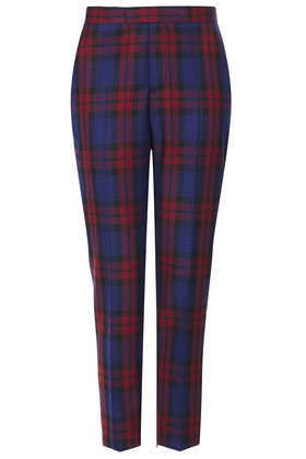 Modern Tailoring Red/Blue Check Suit Trouser - length: standard; pattern: checked/gingham; pocket detail: small back pockets, pockets at the sides; style: peg leg; waist: mid/regular rise; secondary colour: true red; predominant colour: navy; occasions: casual, evening, work, creative work; fibres: polyester/polyamide - mix; fit: tapered; pattern type: fabric; texture group: other - light to midweight; trends: gorgeous grunge, masculine feminine; season: a/w 2013; pattern size: big & busy (bottom)
