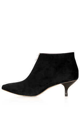 Applebee Kitten Heel Boots - predominant colour: black; occasions: casual, creative work; material: suede; heel height: mid; heel: kitten; toe: pointed toe; boot length: ankle boot; style: standard; finish: plain; pattern: plain; season: a/w 2013
