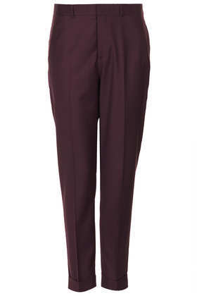 Modern Tailoring Turn Up Trouser - length: standard; pattern: plain; style: peg leg; pocket detail: pockets at the sides; waist: mid/regular rise; predominant colour: aubergine; occasions: casual, evening, work, creative work; fibres: polyester/polyamide - mix; fit: tapered; texture group: woven light midweight; trends: broody brights; season: a/w 2013