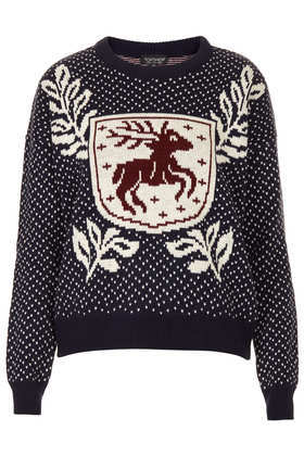 Knitted Stag Crest Jumper - style: standard; secondary colour: ivory/cream; predominant colour: black; occasions: casual, creative work; length: standard; fibres: acrylic - 100%; fit: standard fit; neckline: crew; sleeve length: long sleeve; sleeve style: standard; texture group: knits/crochet; pattern type: knitted - other; pattern size: standard; pattern: patterned/print; trends: playful prints; season: a/w 2013