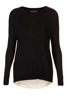 Petite Woven Back Jumper - neckline: round neck; pattern: plain; style: standard; predominant colour: black; occasions: casual; length: standard; fibres: viscose/rayon - stretch; fit: slim fit; sleeve length: long sleeve; sleeve style: standard; texture group: knits/crochet; season: a/w 2013