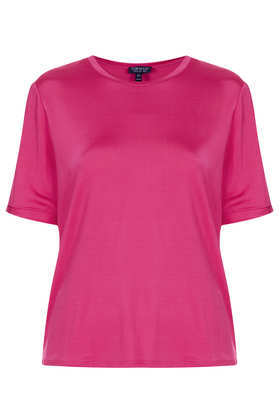 Slinky Tee - pattern: plain; style: t-shirt; predominant colour: hot pink; occasions: casual, evening, work, creative work; length: standard; fibres: viscose/rayon - stretch; fit: body skimming; neckline: crew; sleeve length: short sleeve; sleeve style: standard; pattern type: fabric; texture group: jersey - stretchy/drapey; season: a/w 2013