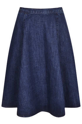 Moto Denim Midi Skirt - pattern: plain; style: full/prom skirt; fit: loose/voluminous; waist: mid/regular rise; predominant colour: denim; occasions: casual, evening, holiday, creative work; length: on the knee; fibres: cotton - 100%; waist detail: narrow waistband; texture group: denim; trends: broody brights; season: a/w 2013