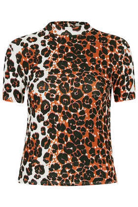 Tall Leopard Textured Top - neckline: high neck; occasions: casual, evening, creative work; length: standard; style: top; fibres: cotton - stretch; fit: body skimming; predominant colour: multicoloured; sleeve length: short sleeve; sleeve style: standard; pattern type: fabric; pattern size: standard; pattern: animal print; texture group: jersey - stretchy/drapey; trends: gorgeous grunge; season: a/w 2013; multicoloured: multicoloured