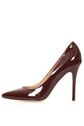 Gwenda Patent Leather Courts - predominant colour: burgundy; occasions: evening, work, occasion, creative work; material: leather; heel height: high; heel: stiletto; toe: pointed toe; style: courts; finish: patent; pattern: plain; trends: broody brights; season: a/w 2013
