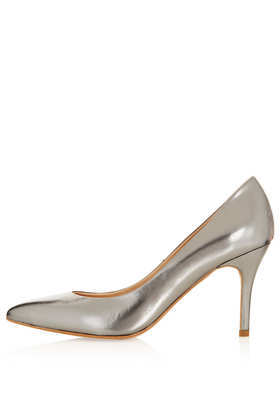Gene Metallic Courts - predominant colour: silver; occasions: evening, work, occasion, creative work; material: leather; heel height: high; heel: stiletto; toe: pointed toe; style: courts; finish: metallic; pattern: plain; season: a/w 2013