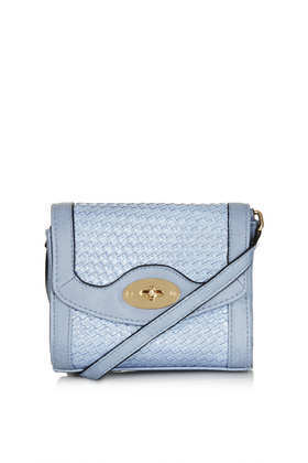 Woven Mini Crossbody Bag - predominant colour: pale blue; occasions: casual, creative work; type of pattern: standard; style: shoulder; length: across body/long; size: small; material: faux leather; pattern: plain; finish: plain; season: a/w 2013