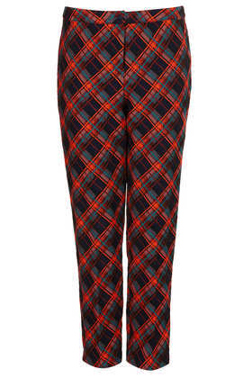Tartan Cigarette Trousers - length: standard; waist: mid/regular rise; predominant colour: true red; secondary colour: black; occasions: casual, evening, work, creative work; fibres: cotton - 100%; fit: tapered; pattern: patterned/print; texture group: brocade/jacquard; style: standard; season: a/w 2013; pattern size: big & busy (bottom)
