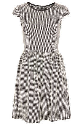 Textured Polkadot Dress - style: t-shirt; neckline: round neck; sleeve style: capped; pattern: polka dot; secondary colour: ivory/cream; predominant colour: charcoal; occasions: casual, evening, creative work; length: just above the knee; fit: fitted at waist & bust; fibres: polyester/polyamide - stretch; sleeve length: short sleeve; pattern type: fabric; pattern size: standard; texture group: jersey - stretchy/drapey; season: a/w 2013