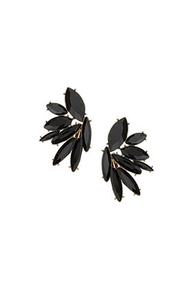 Jet Stone Flower Earrings - predominant colour: black; occasions: casual, evening, occasion, creative work; style: stud; length: short; size: standard; material: chain/metal; fastening: pierced; finish: metallic; embellishment: jewels/stone; trends: excess embellishment, gothic romance; season: a/w 2013