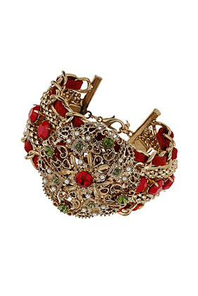 Red Stone Plait Bracelet - predominant colour: true red; secondary colour: dark green; occasions: evening, occasion, creative work; style: cuff; size: large/oversized; material: chain/metal; finish: metallic; embellishment: jewels/stone; season: a/w 2013
