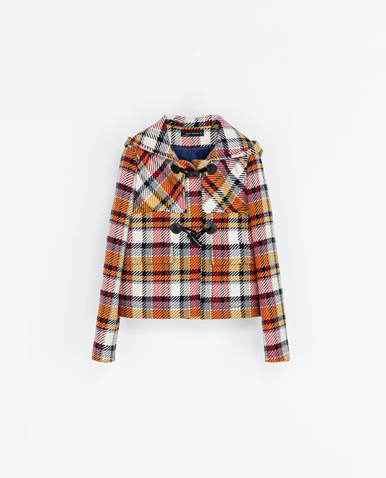 Short Checked Duffle Jacket - pattern: checked/gingham; length: standard; collar: high neck; style: duffle coat; predominant colour: blush; secondary colour: bright orange; occasions: casual; fit: straight cut (boxy); fibres: wool - mix; sleeve length: long sleeve; sleeve style: standard; collar break: high; pattern type: fabric; texture group: woven bulky/heavy; season: a/w 2013; pattern size: big & busy (top)