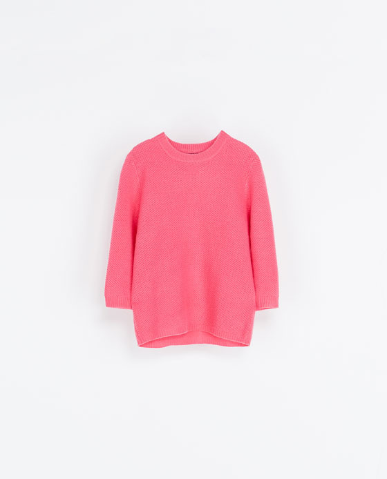 Cashmere Knit Sweater - neckline: round neck; pattern: plain; style: standard; predominant colour: pink; occasions: casual, creative work; length: standard; fit: loose; fibres: cashmere - 100%; sleeve length: 3/4 length; sleeve style: standard; texture group: knits/crochet; season: a/w 2013