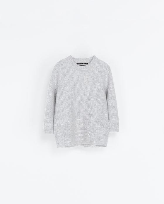 Cashmere Knit Sweater - neckline: round neck; pattern: plain; style: standard; predominant colour: light grey; occasions: casual, creative work; length: standard; fit: loose; fibres: cashmere - 100%; sleeve length: 3/4 length; sleeve style: standard; texture group: knits/crochet; season: a/w 2013