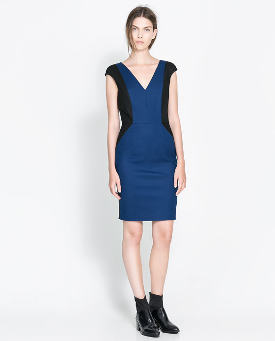 Straight Dress With Contrasting Side Panels - style: shift; neckline: low v-neck; sleeve style: capped; fit: tailored/fitted; predominant colour: royal blue; secondary colour: black; occasions: evening, occasion; length: just above the knee; fibres: cotton - stretch; sleeve length: short sleeve; pattern type: fabric; pattern size: standard; pattern: colourblock; texture group: jersey - stretchy/drapey; season: a/w 2013