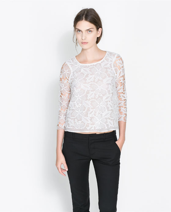 Cropped Guipure Lace Top - neckline: round neck; predominant colour: white; occasions: casual, evening, occasion, creative work; length: standard; style: top; fibres: polyester/polyamide - 100%; fit: straight cut; sleeve length: 3/4 length; sleeve style: standard; texture group: lace; pattern type: fabric; pattern: patterned/print; embellishment: lace; season: a/w 2013