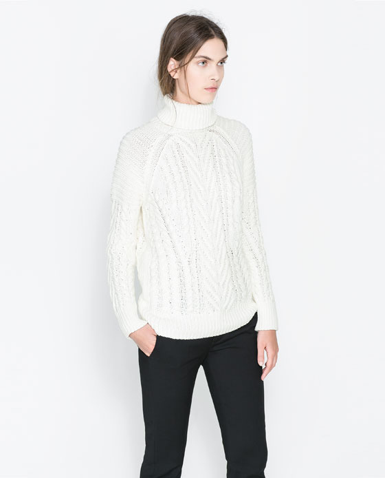 Cable Knit Sweater - sleeve style: raglan; neckline: roll neck; style: standard; pattern: cable knit; predominant colour: ivory/cream; occasions: casual, creative work; length: standard; fibres: cotton - 100%; fit: standard fit; sleeve length: long sleeve; texture group: knits/crochet; pattern type: knitted - other; pattern size: standard; season: a/w 2013