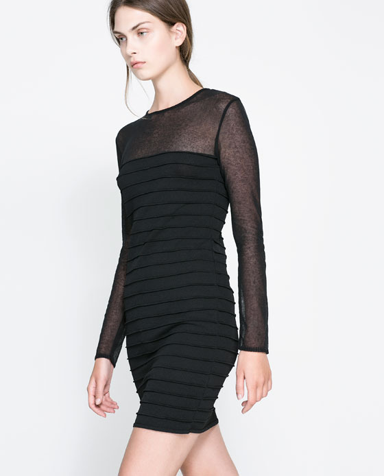 Dress With Sheer Detail - length: mid thigh; neckline: round neck; fit: tailored/fitted; pattern: plain; style: bodycon; predominant colour: black; occasions: evening, occasion; fibres: viscose/rayon - 100%; sleeve length: long sleeve; sleeve style: standard; texture group: jersey - clingy; trends: gothic romance; season: a/w 2013