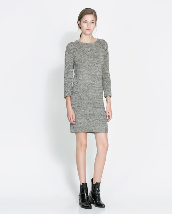 Sweater Dress - style: jumper dress; length: mid thigh; neckline: round neck; pattern: plain; predominant colour: light grey; occasions: casual, evening, creative work; fit: body skimming; fibres: cotton - mix; sleeve length: 3/4 length; sleeve style: standard; texture group: knits/crochet; pattern type: fabric; season: a/w 2013