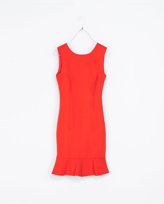 Tube Dress With Ruffle Hem - style: shift; neckline: round neck; sleeve style: standard vest straps/shoulder straps; fit: tailored/fitted; pattern: plain; predominant colour: bright orange; occasions: casual, evening, occasion; length: just above the knee; fibres: polyester/polyamide - stretch; sleeve length: sleeveless; texture group: crepes; pattern type: fabric; season: a/w 2013
