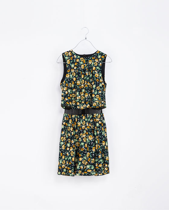 Combination Floral Dress - style: shift; neckline: round neck; fit: fitted at waist; sleeve style: sleeveless; waist detail: belted waist/tie at waist/drawstring; predominant colour: dark green; secondary colour: khaki; occasions: casual, evening, occasion, holiday, creative work; length: just above the knee; fibres: polyester/polyamide - 100%; sleeve length: sleeveless; texture group: sheer fabrics/chiffon/organza etc.; pattern type: fabric; pattern size: standard; pattern: florals; trends: playful prints, broody brights; season: a/w 2013