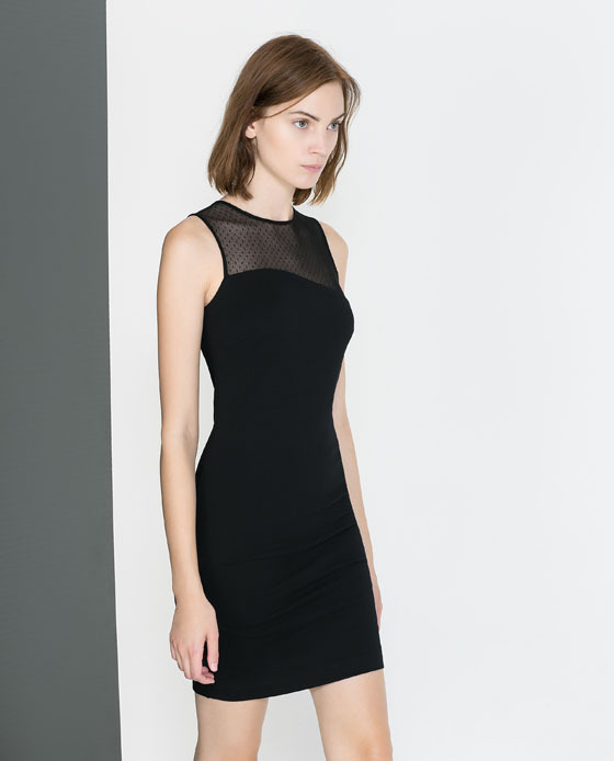 Tube Dress With Combination Neckline - style: shift; length: mid thigh; fit: tight; pattern: plain; sleeve style: sleeveless; predominant colour: black; occasions: evening, occasion; fibres: viscose/rayon - stretch; neckline: crew; bust detail: contrast pattern/fabric/detail at bust; sleeve length: sleeveless; texture group: jersey - clingy; pattern type: fabric; season: a/w 2013