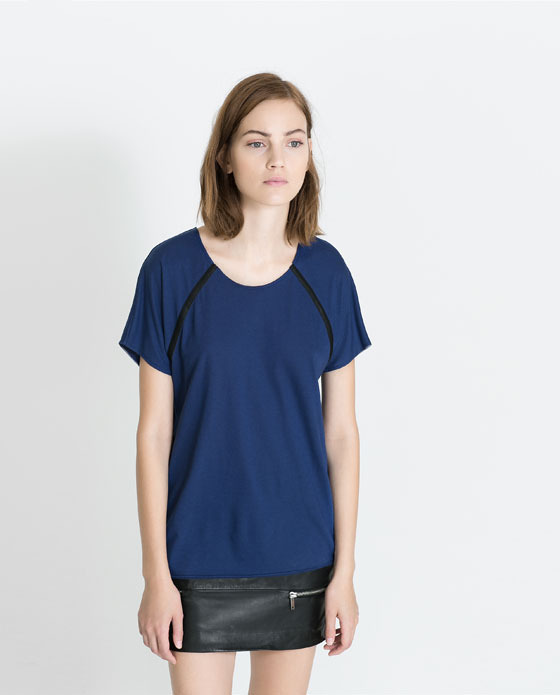 T Shirt With Faux Leather Seams - neckline: round neck; pattern: plain; style: t-shirt; predominant colour: navy; secondary colour: black; occasions: casual, work; length: standard; fibres: cotton - mix; fit: loose; sleeve length: short sleeve; sleeve style: standard; texture group: cotton feel fabrics; pattern type: fabric; trends: broody brights; season: a/w 2013