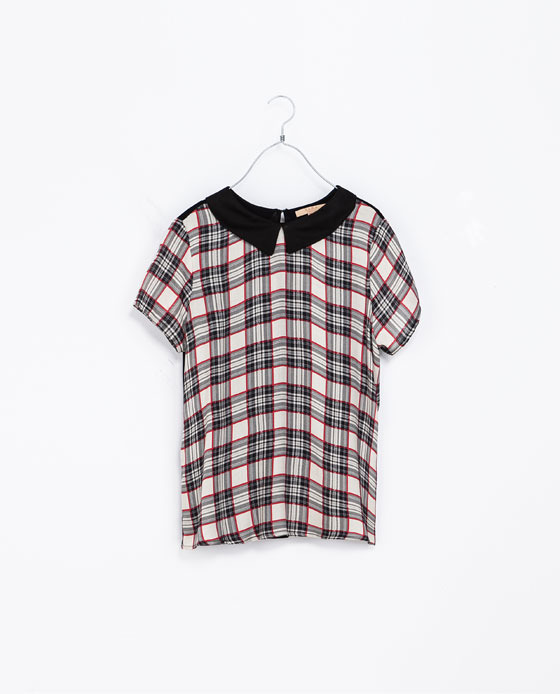 Combined Checkered T Shirt With Collar - pattern: checked/gingham; back detail: contrast pattern/fabric at back; secondary colour: ivory/cream; predominant colour: black; occasions: casual, work, creative work; length: standard; style: top; fibres: viscose/rayon - 100%; fit: loose; neckline: no opening/shirt collar/peter pan; sleeve length: short sleeve; sleeve style: standard; texture group: sheer fabrics/chiffon/organza etc.; pattern type: fabric; pattern size: standard; trends: gorgeous grunge; season: a/w 2013