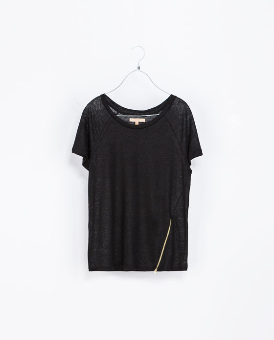 Basic Zip T Shirt - sleeve style: raglan; pattern: plain; style: t-shirt; predominant colour: black; occasions: casual, creative work; length: standard; neckline: scoop; fibres: linen - 100%; fit: loose; sleeve length: short sleeve; texture group: linen; pattern type: fabric; season: a/w 2013