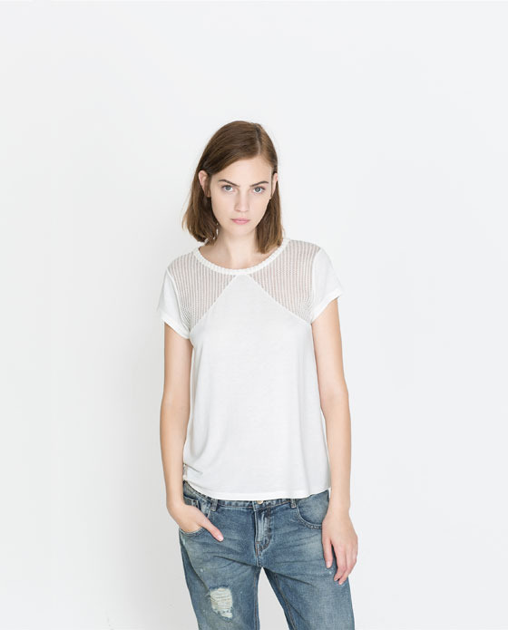 T Shirt With Lace Yoke - neckline: round neck; pattern: plain; style: t-shirt; predominant colour: white; occasions: casual, creative work; length: standard; fibres: viscose/rayon - 100%; fit: loose; sleeve length: short sleeve; sleeve style: standard; pattern type: fabric; texture group: jersey - stretchy/drapey; embellishment: lace; season: a/w 2013