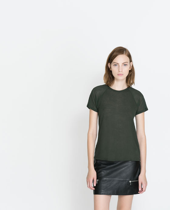 T Shirt With Sheer Sleeves - pattern: plain; style: t-shirt; shoulder detail: contrast pattern/fabric at shoulder; predominant colour: black; occasions: casual, evening, work, creative work; length: standard; fibres: cotton - 100%; fit: body skimming; neckline: crew; sleeve length: short sleeve; sleeve style: standard; pattern type: fabric; texture group: jersey - stretchy/drapey; season: a/w 2013
