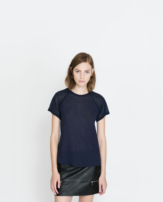 T Shirt With Sheer Sleeves - pattern: plain; style: t-shirt; shoulder detail: contrast pattern/fabric at shoulder; predominant colour: navy; occasions: casual, evening, work, creative work; length: standard; fibres: cotton - 100%; fit: body skimming; neckline: crew; sleeve length: short sleeve; sleeve style: standard; pattern type: fabric; texture group: jersey - stretchy/drapey; trends: broody brights; season: a/w 2013