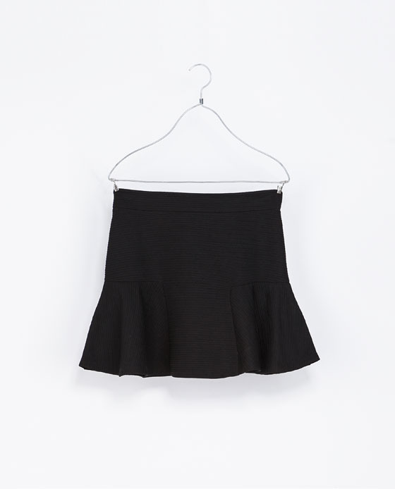Flared Skirt - length: mid thigh; pattern: plain; fit: loose/voluminous; waist: high rise; predominant colour: black; occasions: casual, evening, creative work; style: fit & flare; fibres: polyester/polyamide - 100%; pattern type: fabric; texture group: woven light midweight; season: a/w 2013