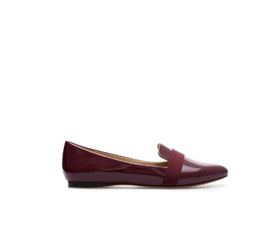 Patent Leather Slip On Shoes - predominant colour: burgundy; occasions: casual, evening, work, creative work; material: leather; heel height: flat; toe: round toe; style: loafers; finish: patent; pattern: plain; trends: broody brights; season: a/w 2013