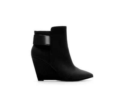 Wedge Ankle Boot - predominant colour: black; occasions: casual, creative work; heel height: high; heel: wedge; toe: pointed toe; boot length: ankle boot; style: standard; finish: plain; pattern: plain; material: faux suede; season: a/w 2013